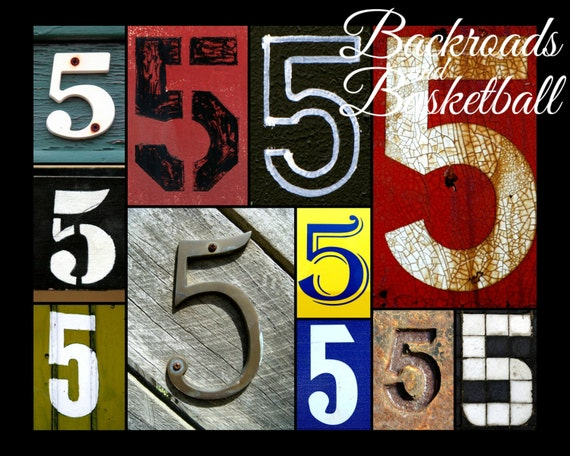 Number 5 numbers collage fine art home decor by for Number 5 decorations
