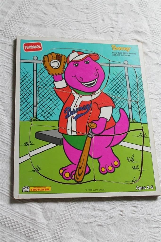 Collectible Puzzles In Frame Tray Barney The Dinosaur