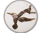 Bird necklace - Bronze necklace - Crystal pendant - Jewelry Necklaces Pendant - elegant bijouterie - street style - colibri pendant