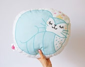 Handmade cat cushion / Pillow / Plush - The cuddly cat / Blue pillow - Bedroom decoration / Home / Nursery - Children / Kids / Babies