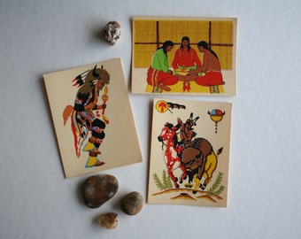 Vintage Silkscreen Cards + Native American Scenes
