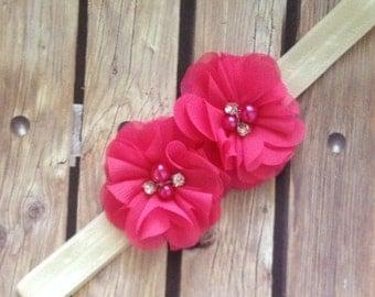 Sophia headband, pink headband, bright pink headband, ivory headband,