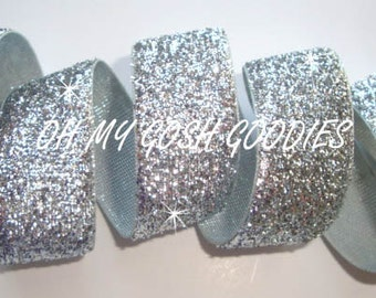 "SILVER METALLIC GLITTER Sparkle  7/8"", 1.5"" - 5 Yards - Oh My Gosh Goodies Ribbon"