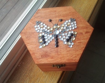 Butterfly Jeweled Wood Box