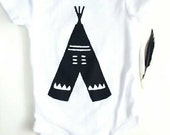 Irregular 12 Month Onsie with Screen Printed Tee Pee Ready to Ship