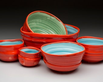 Nesting bowls in multiples of three, four and six with a variety of color combinations!