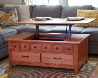 Custom made lift up solid wood coffee table