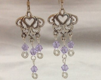 Sterling Silver Chandelier Earring with a Swarovski beads, Handmade Earrings, Handcrafted Jewelry