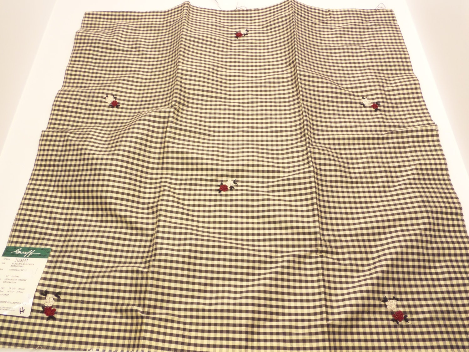 Greeff silk check embroidery fabric sample by