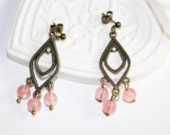 Earrings, cherry quartz beads, bronze metal, anti stress