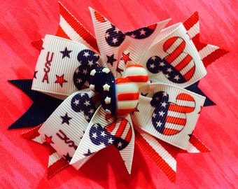 Mickey Mouse Bow...Mickey red white and blue... Patriotic Mickey