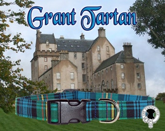 Grant Tartan Dog Collar,,, Authentic tartan from the Scottish Clan Grant