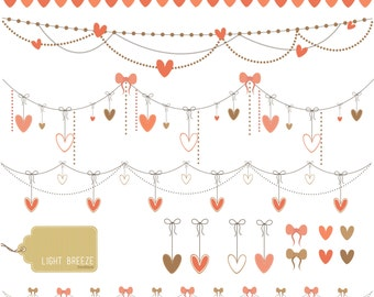 Valentine's Day Garland Digital Clipart Set - Instant Download - Personal and Commercial Use