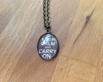 Antique brass 'Keep Calm and Carry On' necklace