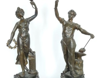 Antique figurine candlestick pair – spelter and marble  – original patina and color  -  circa 1880-1890