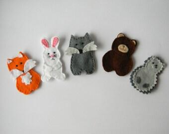 Felt finger puppets Forest Friend- set of 5, Woodland Animal Finger Puppets, Wool Felt Finger Puppet Set, christmas gift , stocking stuffer