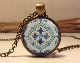 Moroccan tile. Spanish tile. Mediterranean ceramic tile design necklace. Ceramic tile art pendant jewelry (ceramic #6)