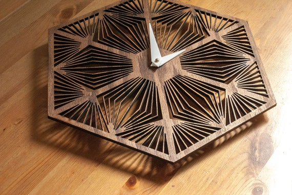 Items Similar To Laser Cut Wall Clock On Etsy