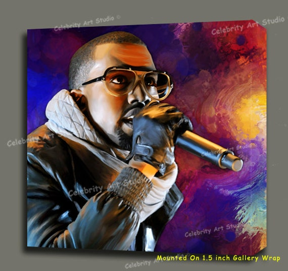 kanye west glow in the dark tour concert canvas giclee. Black Bedroom Furniture Sets. Home Design Ideas