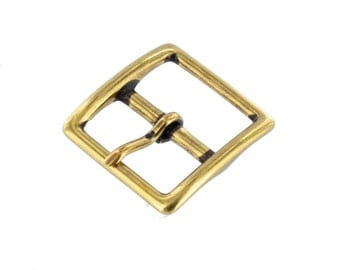 "1097 1"" Antique Brass, Center Bar Buckle, Solid Brass-LL"
