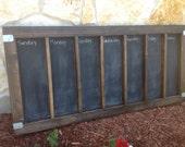 Large Wood-Framed Chalkboard Calendar/Chore Chart/Menu Board with Stainless Steel Hardware