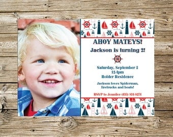AHOY Nautical Boy Birthday invitation