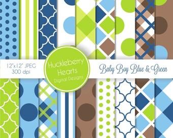 80% OFF SALE Baby Boy Blue and Green Digital Scrapbook Paper, Digital Background, DIY Printable Paper