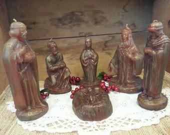 Molded Nativity Candles Set of 6