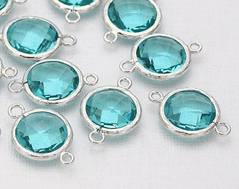 Blue Zircon Round Glass Connector(Parallel)  Polished Rhodium-Plated - 2 Pieces <G0020-PRBZ>