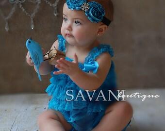Baby lace romper , 2 pcs Teal petti romper & headband, newborn photo props,Girl Baby petti rompers , flower baby girl