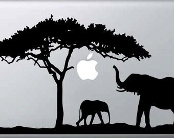 Laptop decal – Laptop Sticker – Macbook Pro decal – Macbook Air decal – Car window – Hipster - African Safari - Elephants