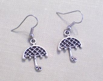Antiqued Silver Umbrella Earrings, Whimsical Pierced Dangle Earrings