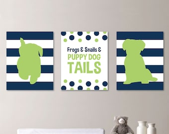 Striped Puppy Dog Print Trio - Nursery Home. Decor. Boy. Preppy. Wall. Art - Shown in Navy Apple Green - You Pick the Size & Colors (NS-252)