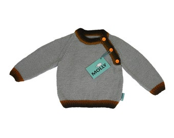 """Grey hand made unique baby cardigan """"Carrot stick man"""" in size 86; 12-18 months old"""