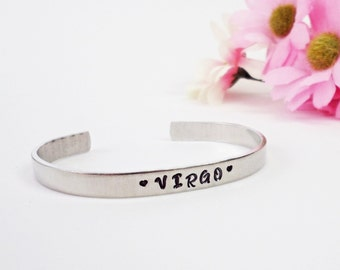 Virgo Zodiac Bracelet Cuff - Personalized Bracelet - Virgo Cuff - Handstamped Cuff - Zodiac Sign Bracelet - Astrology Gift - Birthday Gift
