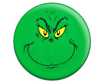 The Grinch Face (Dr. Suess) Button & Magnet ...