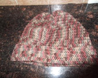 Multi-Color Crochet Beanie (Burgundy, Green, Brown)