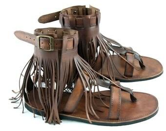 Leather Fringe Hippie Sandals