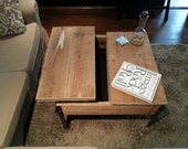 Square Hemlock Barn Wood Pop up Table with Clear Coat