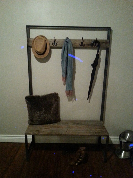 Reclaimed Wood Angle Iron Hall Tree With Bench