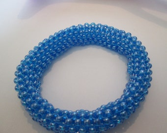 Pretty blue tubular peyote stitch bangle