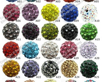 100 pcs 10mm Clay crystal ball Disco ball Rhinestone pave beads beaded bracelet making