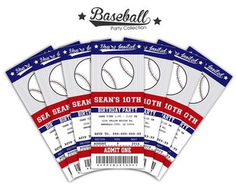 Baseball Ticket Invitations Printable - Instant Download Editable PDF