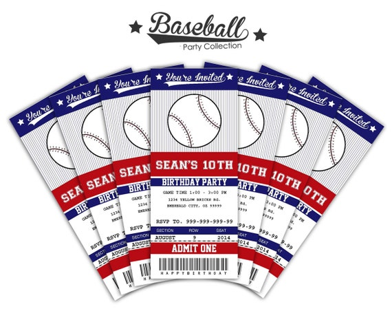baseball ticket invitations printable instant by sqweezdesign. Black Bedroom Furniture Sets. Home Design Ideas