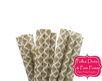 25 METALLIC GOLD Damask Design / Pattern / Paper Drinking Straws / Birthday Party Decoration Ideas and Supplies / Wedding