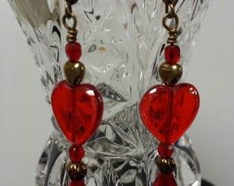 Red Glass Heart Dangle Pierced Earrings