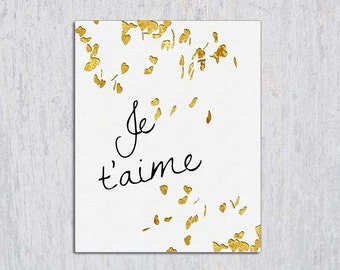 Je t'aime, I Love You in French, Valentine's Day Art, Love Printable Typography, INSTANT DOWNLOAD, 8x10, I Love You French, Last Minute Gift