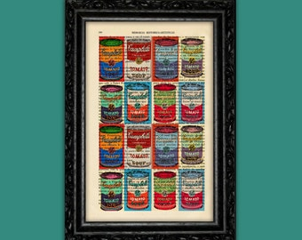 Colorful Tomato Soup Art Print Andy Warhol Campbell Can Soup Book Poster Dorm Room Print Gift Print Wall Decor Poster Dictionary Art Print