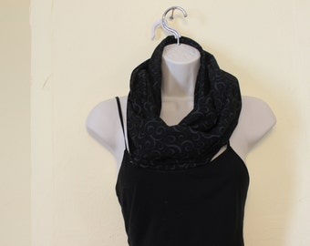 Black scroll infinity scarf