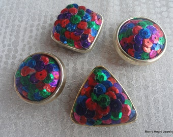 Vintage Sequined Button Covers